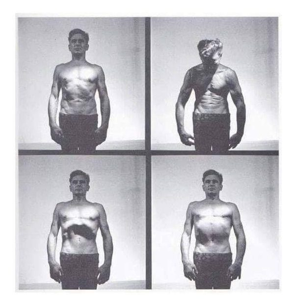 4 fotografías de Joe Pilates activando el Poweerhouse
